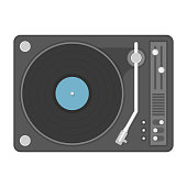 Vintage vinyl player with classic audio plastic disc. Old disco, gramophone isolated on white background. Vector illustration in modern flat style. EPS 10.