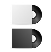 Realistic Vintage Vinyl Record with Paper Cover or Sleeve Blank Black and White. Vector illustration