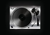 Silver Vinyl record player on black background and long shadow, Vector