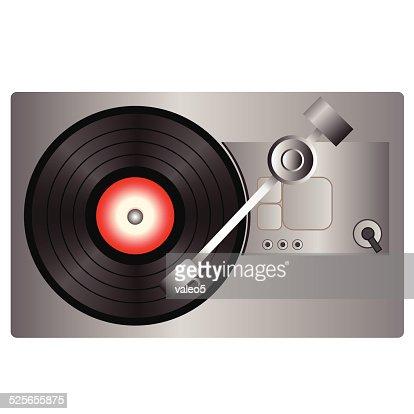 Lecteur de disque vinyle clipart vectoriel getty images - Lecteur disque vinyl ...