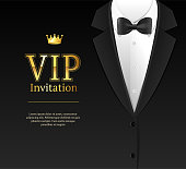 Vip Invitation with Bow Tie Template Card Banner for Ceremony, Party Luxury Style. Vector illustration of Bowtie Element Male Costume