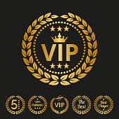 Vip label on black background. Vector illustration