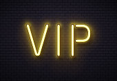Vip neon sign. Elegant premium members club, luxury banner with golden fluorescent neons tube lamps on brick wall. Illuminated private royal casino room vip symbol vintage vector illustration