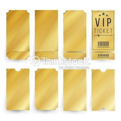 vip チケット テンプレート ベクトル空のゴールデン チケットとクーポン
