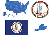 Vector illustration of Virginia state, contains:
