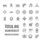Virtual and augmented reality vector icons set for your design