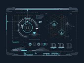 Virtual digital interface. Data and indicators on screen. Vector illustration