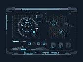 Virtual digital interface. Data and indicators on screen. Vector illustration