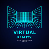 Virtual reality and new technologies for games. Room with perspective grid. Vector illustration.