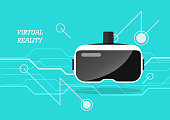 Virtual reality headset poster. Vector illustration