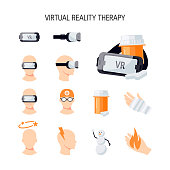Virtual reality therapy. Set of vector elements in flat style