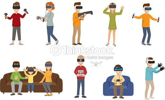 11c819db9b63 Virtual reality VR glass headset people playing enjoy 3d goggles device  characters simulation futuristic video game vector illustration
