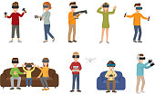 Virtual reality VR glass headset people playing enjoy 3d goggles device characters simulation futuristic video game vector illustration. Innovation modern digital play vision tool.