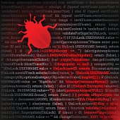 Hacking concept. Red bug crawling on top of code. Fully scalable vector illustration.