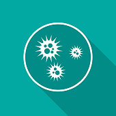 Virus icon with long shadow. Flat design style. Petri dish simple silhouette. Modern, minimalist icon in stylish colors. Web site page and mobile app design vector element.
