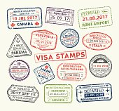Isolated set of visa passport stamp for travel to Canada or USA, Uk or China, Venezuela or Dominican republic, Japan or Egypt, Korea or Brasil, Italy or Tailand. Tourism icon. Airport sign. Vector.