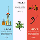 Visit Canada vertical web banners. Toronto CN tower, marple leaf, ice hockey stick, puck, skates drawn vector illustrations. Templates with country related symbols.