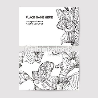 Modele De Carte Visite Avec Lys Blanc Pour Un Fleuriste Salon Beaute Clipart