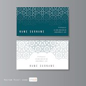 Visit cards set with arabic ornament, vector illustration