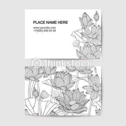 Modle De Carte Visite Avec Des Fleurs Lotus Clipart Vectoriel