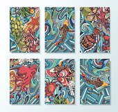 A set of cards with decorative zentangl. Abstract doodle maritime theme. A vivid illustration of marine animals.