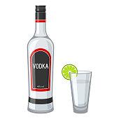 Illustrationen visar en flaska vodka och ett glas