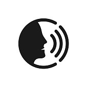 Voice command control with sound waves icon. Black man head silhouette speaking symbol.
