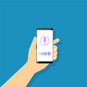 Voice recognition, a man holds in his hand a smartphone with a microphone icon. Sound recording. Vector illustration in flat style.