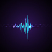 Abstract neon sound waves on violet background