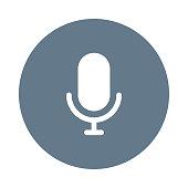 voice recorder glyph flat circle icon