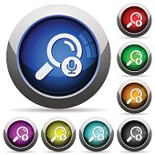 Voice search icons in round glossy buttons with steel frames