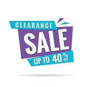 Vol. 3 Clearance Sale blue purple 40 percent heading design for banner or poster. Sale and Discounts Concept. Vector illustration.