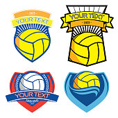 Volleyball and water polo emblems on isolated background