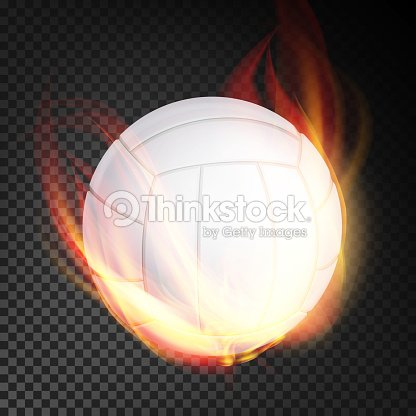 Volleyball Ball Vector Realistic. White Volley Ball In Burning Style Isolated On Transparent Background