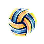 Colorful volleyball silhouette with different grunge elements