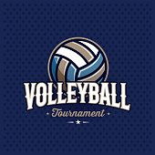 Modern professional volleyball tournament symbol with ball. Sport badge for team, championship or league. Vector illustration.