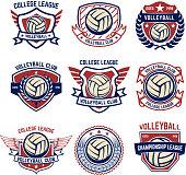 Volleyball emblems on white background. Design element for  label, emblem, sign, badge. Vector illustration