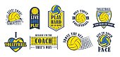 Volleyball icon set, creative labels for players competing in sport game, athletes and coaches motto, t-shirt badge for fan zone or volunteers, vector illustration