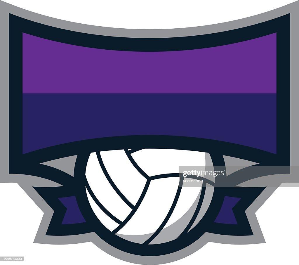 Logotipo de Escudo de Voleibol : Arte vetorial