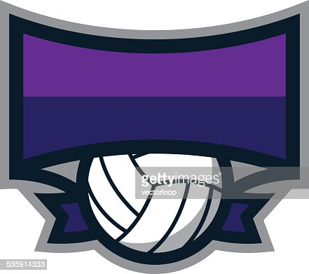 Logotipo de voleibol Shield : Arte vectorial
