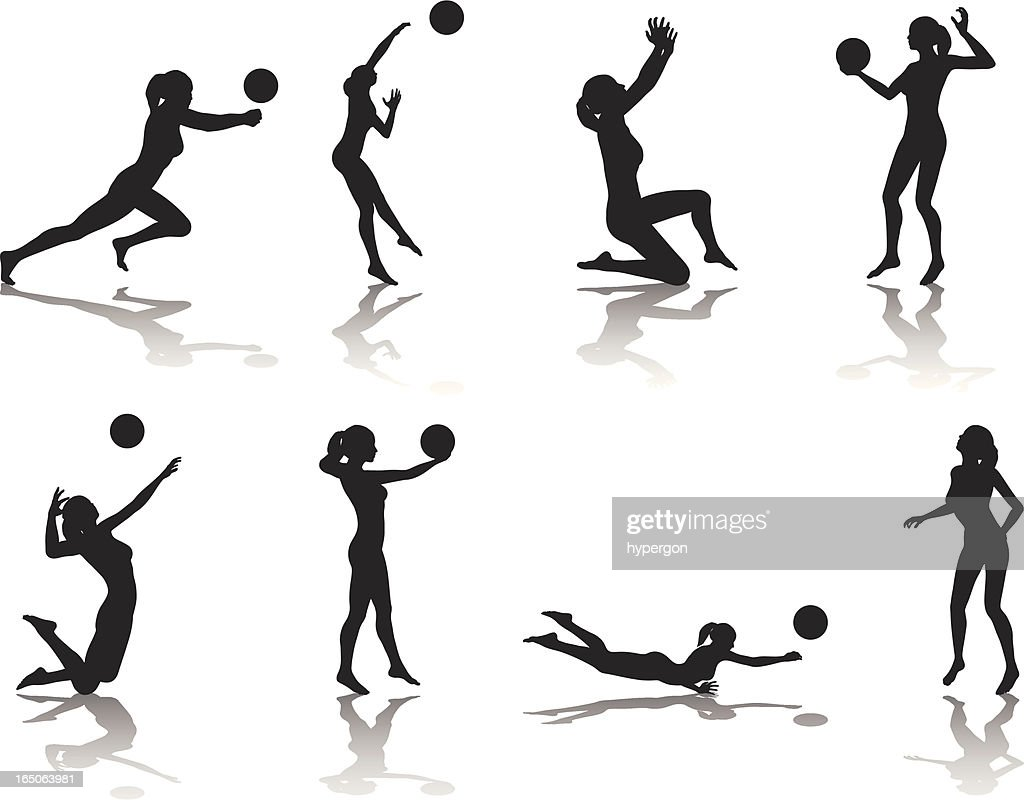 Illustration Abstract Volleyball Player Silhouette: Volleyball Silhouette Collection Vector Art