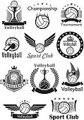 Volleyball vector icons set of sport club balls, game tournament winner cup award, victory laurel wreath and crown. Team championship or contest emblems, ribbons and stars, referee whistle and gates