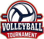 volleyball tournament. Emblem template with volleyball ball. Design element for label, sign. Vector illustration.