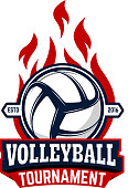 Volleyball tournament. Label template with volleyball ball. Design element for logo, label, emblem, badge, sign.