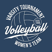 Volleyball typography for t-shirt print. Varsity athletic t-shirt graphics. Vector