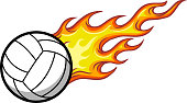The illustration shows a white volleyball. The yellow-red flame expresses the ball's speed.