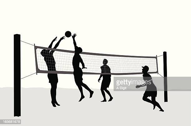 Volleyballers Vector Silhouette