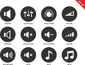 Volome vector icons set. Sound concept, music equipment, speaker, equalizer, music knob, different volume signs, min, max, mute, notes. Isolated on white background