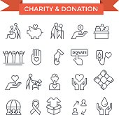 Charity, Donation and volunteer work concept icons, thin line flat design