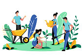 Volunteering, charity social concept. Volunteer people plant trees in city park, vector flat illustration. Ecological lifestyle.